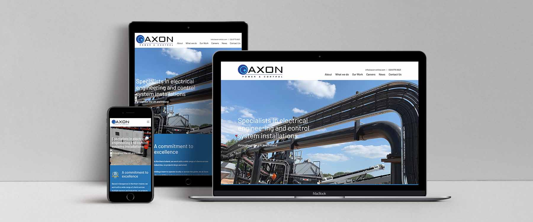 Contemporary New Website for County Tyrone Axon Power & Control Image