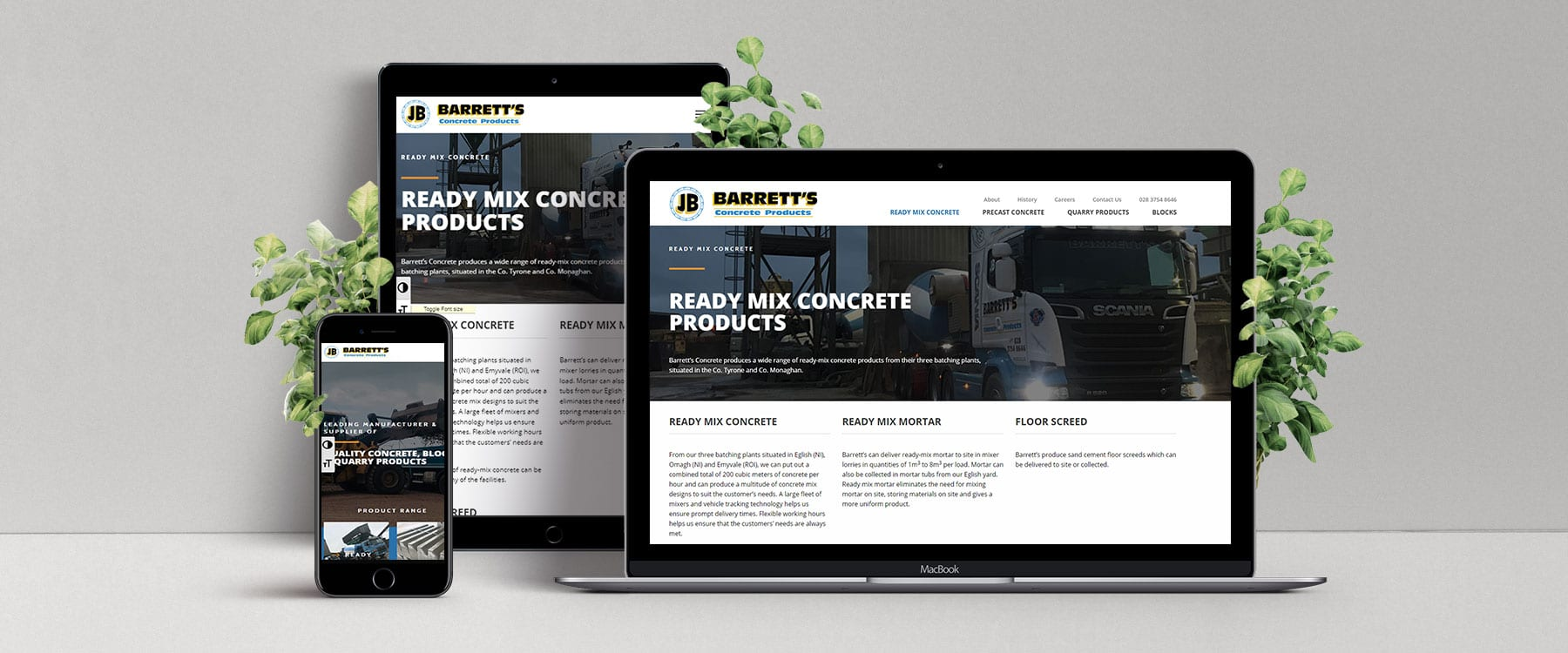 Professional, Engaging New Website for Barrett's Concrete Image