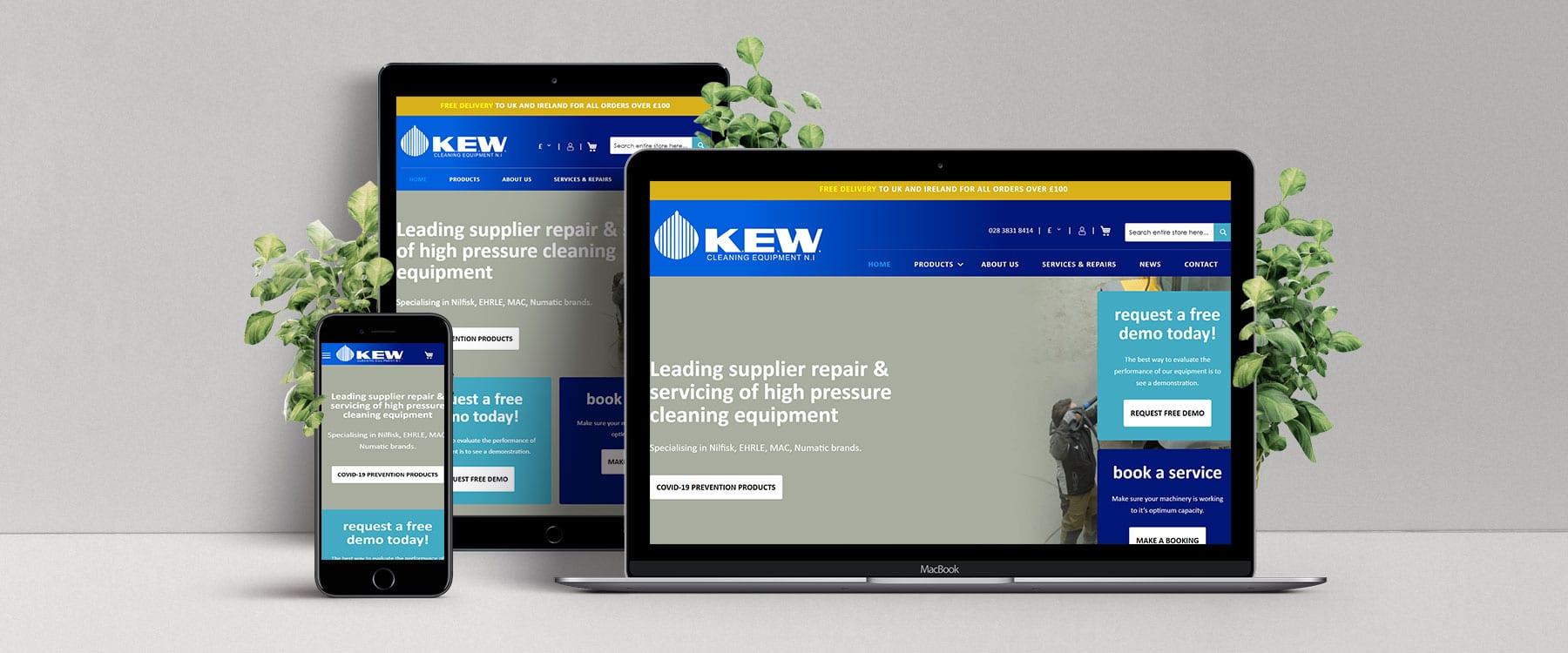 Fresh & Modern eCommerce Website for K.E.W Cleaning Equipment NI Image