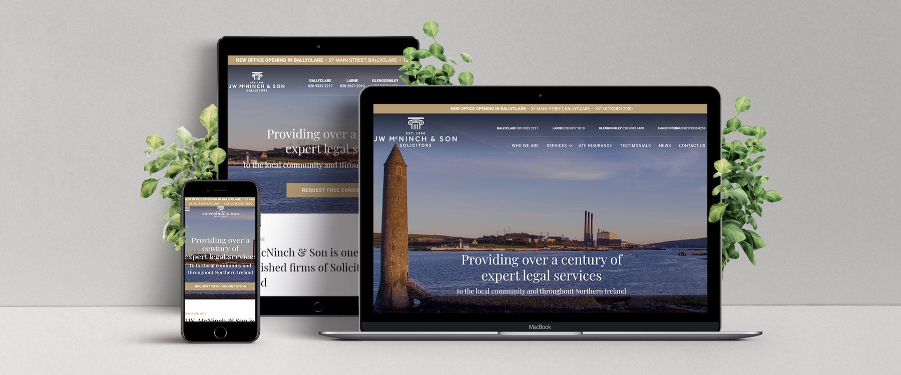 Professional Website for Northern Ireland Solicitors, JW McNinch & Son Image